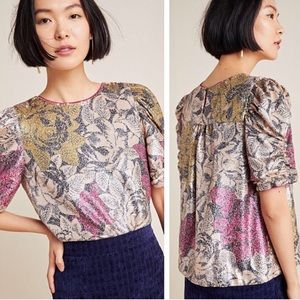 NWT Anthropologie Marie Floral Sequined Blouse